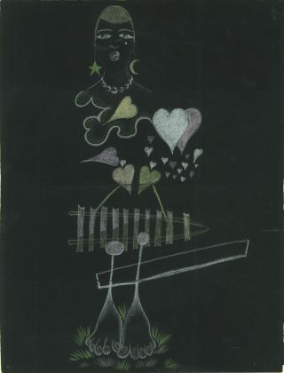 Intuition, Palazzo Fortuny, Venezia - Paul Eluard e André Breton, Cadavre exquis, 1931, Matita a colori su carta nera, 32x25 cm. Collection David et Marcel Fleiss, Galerie 1900-2000, Paris © Galerie 1900-2000