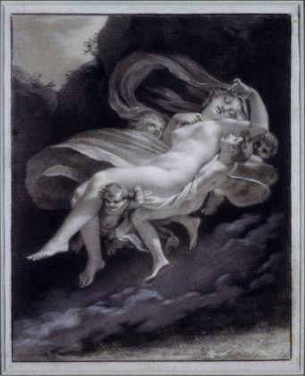 Pierre-Paul Prud'hon, Psiche rapita da Zefiro, 33 x 17 cm. Parigi, collezione Prat