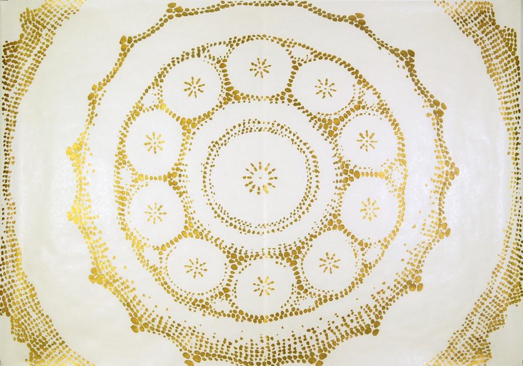 Stefano Arienti, Studi per l'altare della chiesa di San Giacomo Maggiore di Sedrina, 2006, inchiostro oro su carta, disegno 100 x 150 cm