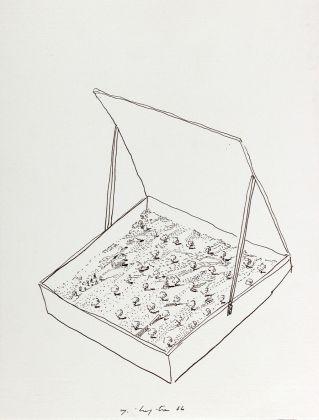 Luigi Malerba, 1985, pennarello e inchiostro su carta, 147 x 209 mm, Collezione Galleria Civica di Modena