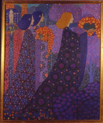 Vittorio Zecchin, Corteo delle principesse, 1914, olio e oro su tela. Fondazione Musei Civici di Venezia, Ca' Pesaro-Galleria Internazionale d'Arte Moderna