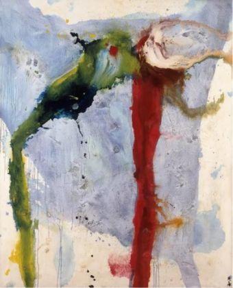 Motonaga Sadamasa, Work Green/Red 999, 1959. Oil and synthetic paint on canvas, 227 x 185 cm. Guggenheim Abu Dhabi