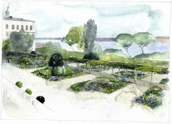Anna Regge, acquerello 2017,Veduta dei Giardini Reali dalle finestre del Museo Correr_xl