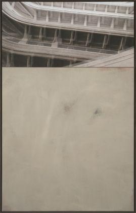 Claudia Peill, Round, 2015, acrilico su tela e base fotografica, 160x100 cm