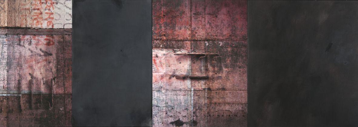 Claudia Peill, Storie, 2017, acrilico su tela e base fotografica, 80x225 cm