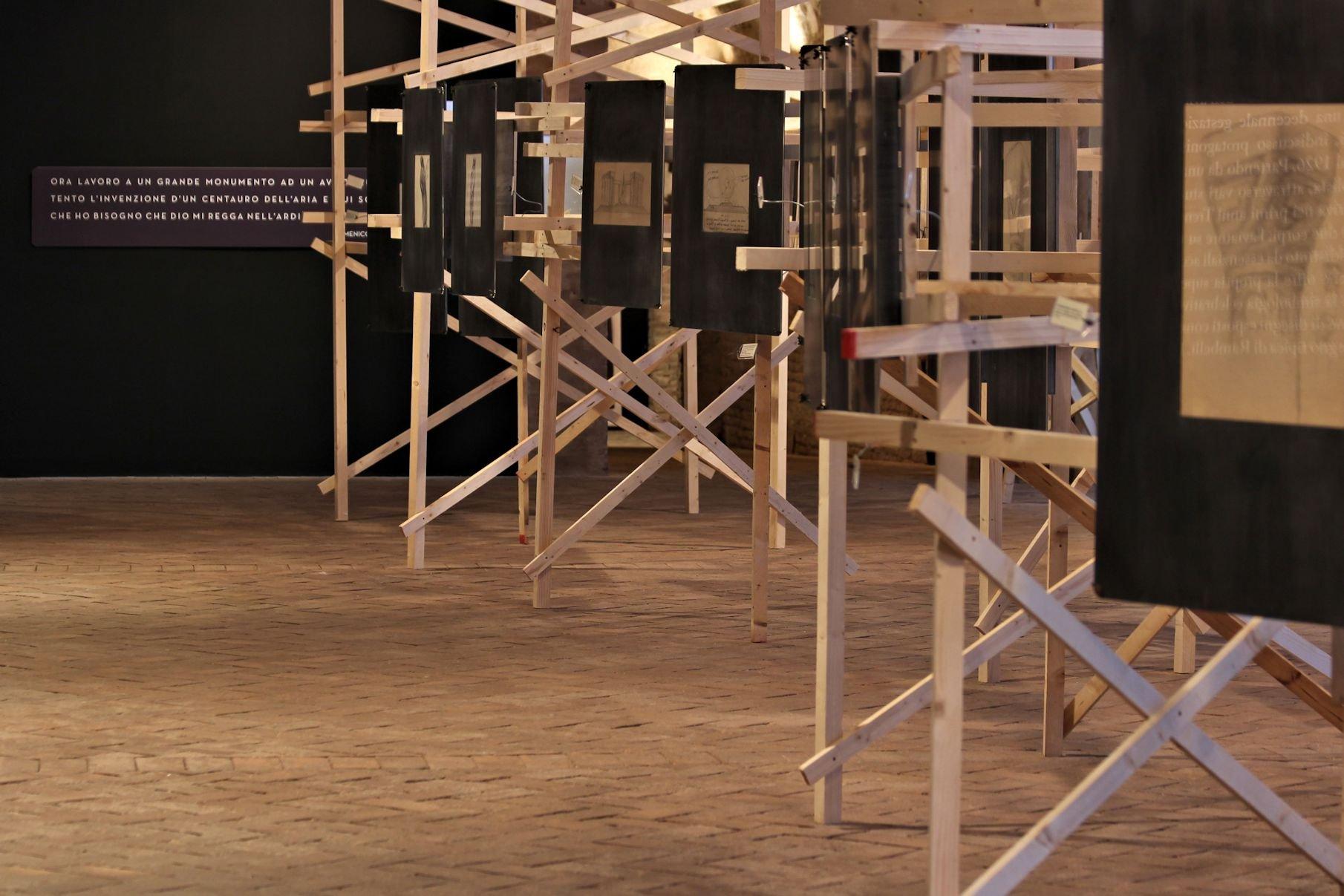 Domenico Rambelli. Installation view at Pescherie della Rocca, Lugo di Romagna 2017. Allestimento Claudio Ballestracci