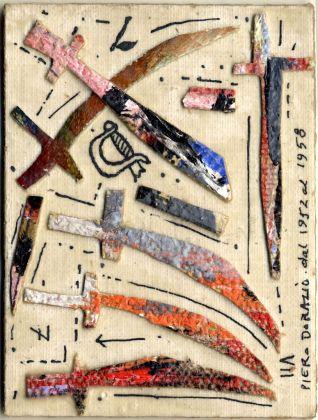 Dorazio Piero, Carta dei tarocchi, arcano minore, Sette di spade. Collezione Paola Masino