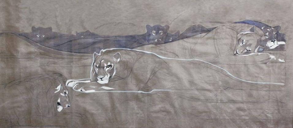 Duilio Cambellotti, Leoni e leonesse addormentati, 1922, carboncino, acquerello, guazzo, china e porporina su carta da spolvero. Terme di Sirmione SpA