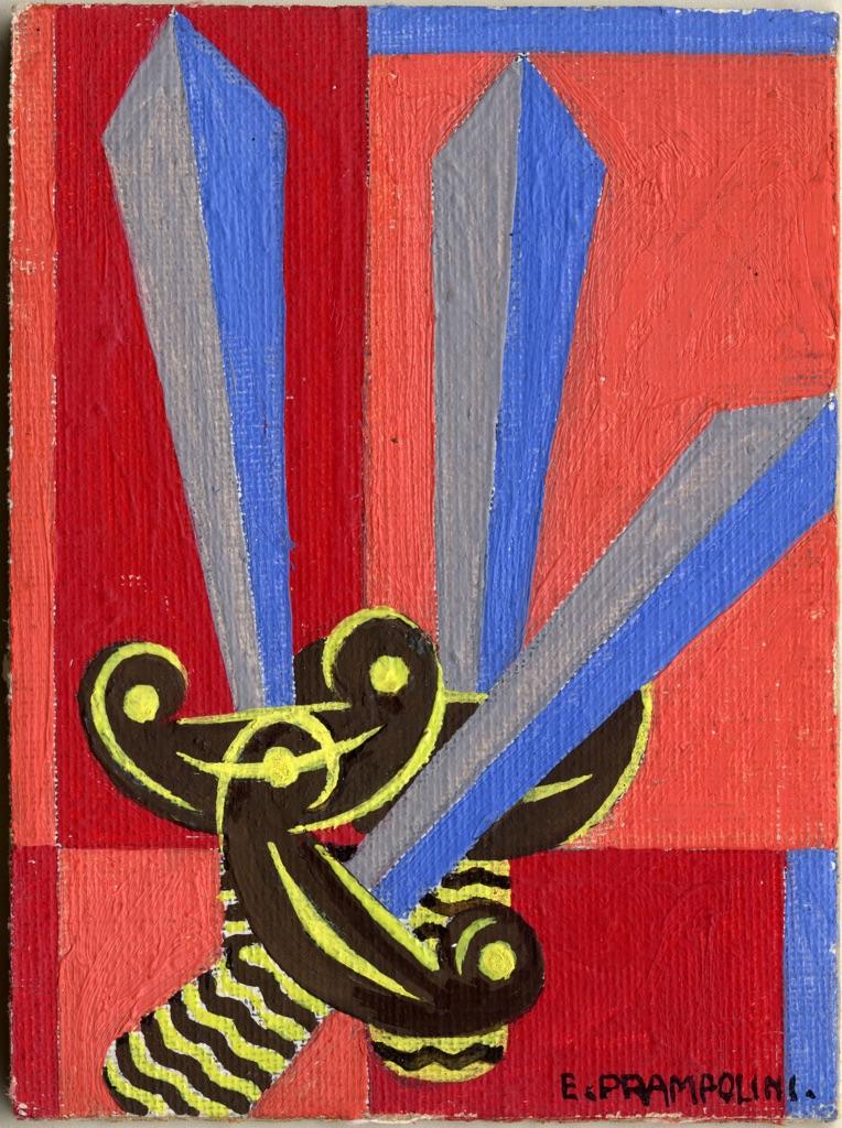 Enrico Prampolini, Carta dei tarocchi, arcano minore, Tre di spade. Collezione Paola Masino