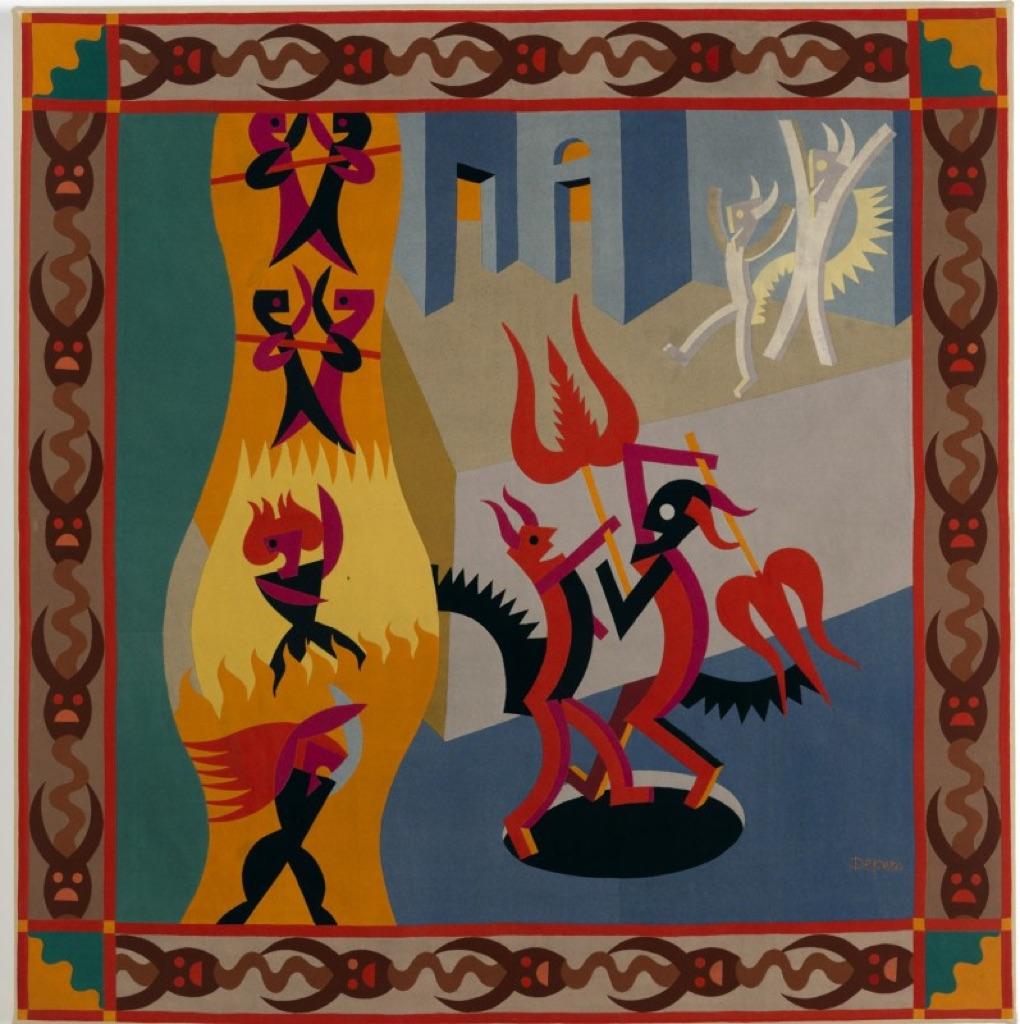 Fortunato Depero, Danza di diavoli, 1922, tarsia di panni. Rovereto, Mart, Museo di arte moderna e contemporanea di Trento e Rovereto, Fondo Depero