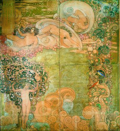 Galileo Chini, Studio preparatorio per la decorazione dello scalone delle Terme Berzieri a Salsomaggiore, 1922, tempera su carta. Mugello, collezione privata