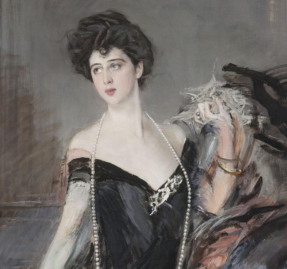 Giovanni Boldini, ritratto di Donna Franca Florio, dettaglio