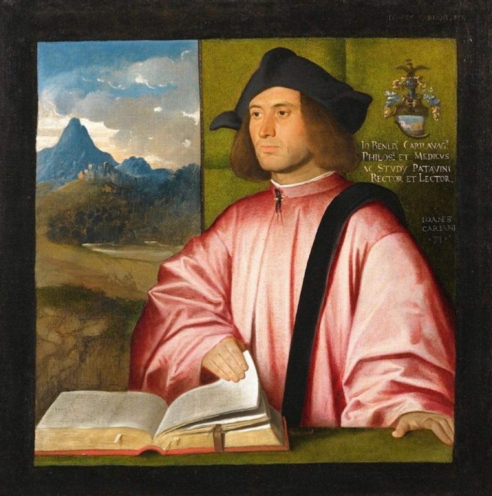 Giovanni Busi detto Cariani, Ritratto di Giovanni Benedetto Caravaggi, 1520-21. Olio su tela, cm 82 x 82. Bergamo, Accademia Carrara