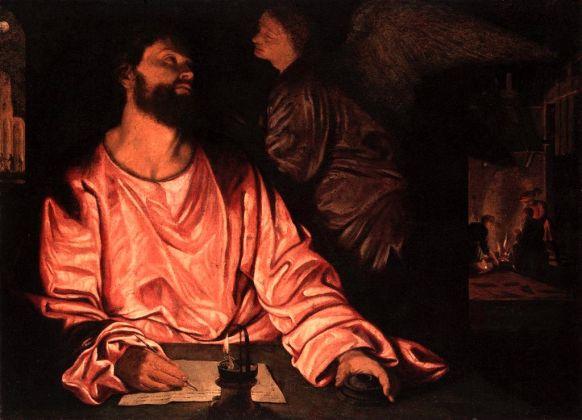 Giovanni Gerolamo Savoldo, San Matteo e l'angelo, 1534 ca. Olio su tela, cm 93,4 x 124,5. New York, Metropolitan Museum of Art
