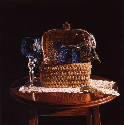 Giuseppe Carta, Cinque bicchieri, cesto e pizzo, 1997