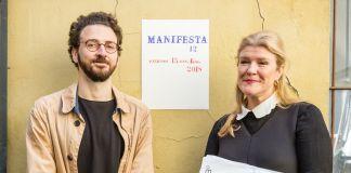 Hedwig Fijen e Ippolito Pestellini Laparelli, Creative Mediator per Manifesta 12. Presentazione a Milano, 3 aprile 2017, Francesco Pantaleone Gallery. Photo © Guido Rizzuti & Manifesta 12