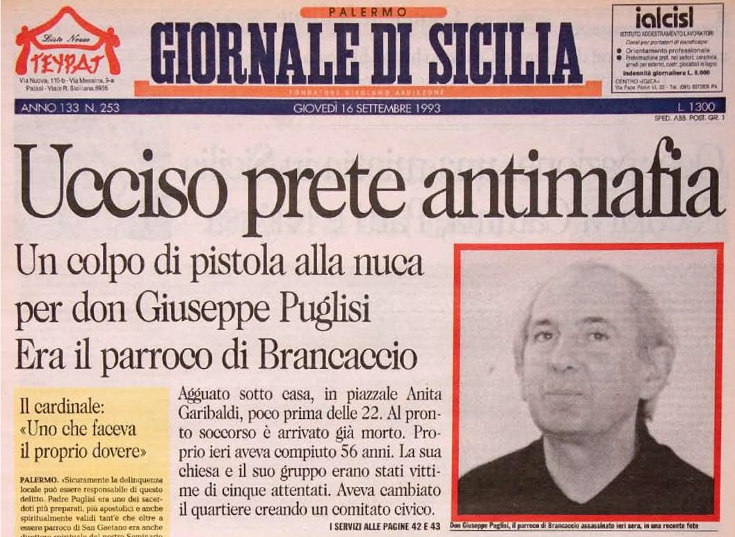 La notizia dell'uccisione di Don Pino Puglisi sulla prima pagina del Giornale di Sicilia
