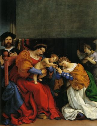 Lorenzo Lotto, Matrimonio mistico di Santa Caterina di Alessandria, 1523. Olio su tela, cm 189,3 x 134,3. Bergamo, Accademia Carrara