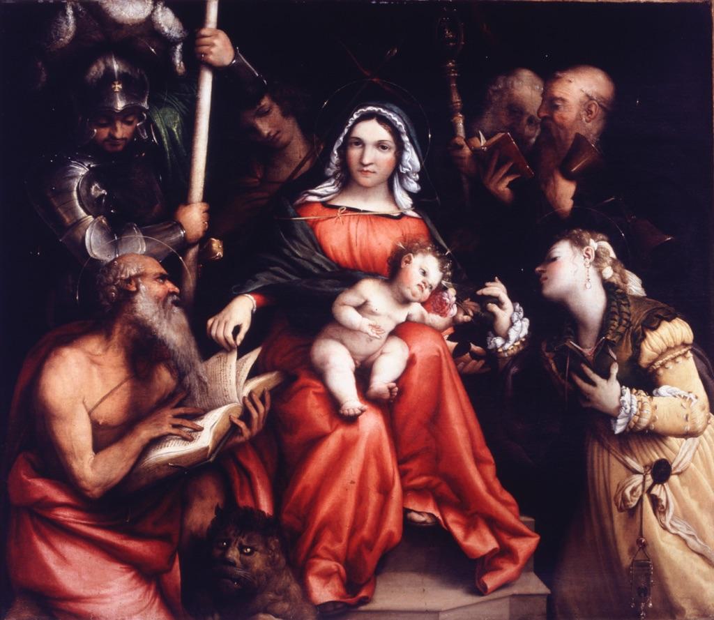 Lorenzo Lotto, Matrimonio mistico di Santa Caterina di Alessandria, 1524. Olio su tela, cm 98 x 115. Roma, Gallerie Nazionali di Arte Antica
