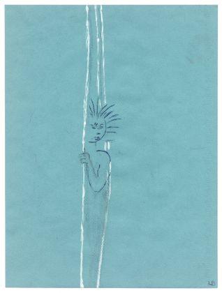 Louise Bourgeois, Senza titolo, 2002, matita, inchiostro, carboncino, bianchetto su carta blu, 32.1 x 24.1 cm. © The Easton FoundationSIAE, Photo Christopher Burke