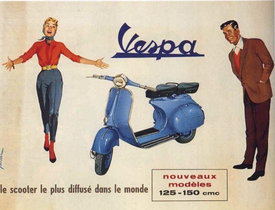 Manifesto pubblicitario vintage per la Vespa (anni '50-'60)