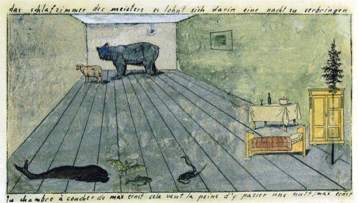 Max Ernst, La chambre à coucher de Max Ernst cela vaut la peine d'y passer une nuit, 1920. Courtesy Collection Werner Schindler, Zurigo