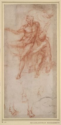 Michelangelo Buonarroti, Il miracolo di Lazaro (studio), c. 1516. Sanguigna su carta, 25 x 11,8 cm. © The Trustees of the British Museum. Courtesy National Gallery
