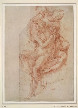 Michelangelo Buonarroti, Il miracolo di Lazaro (studio), c. 1516. Sanguigna su carta. © The Trustees of the British Museum. Courtesy National Gallery