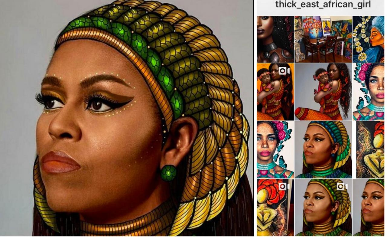 Michelle Obama reinterpretata dalla giovane Galile Mesfin su Instagram