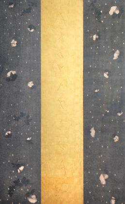 Omar Galliani, Magnificat. Soltanto rose, 2008, grafite e foglia oro su tavola (trittico),cm 210x135 (3 tavole di 210x45 cad.)