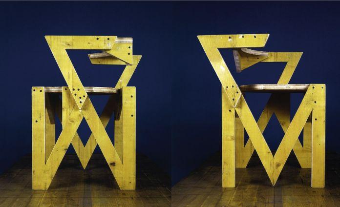 P18, serie Solidi, 1995 ca. Pannello di abete a tre strati rivestimento giallo, 70 x 50 x 50 cm. Courtesy Archivio Architetto Cesare Leonardi. Foto Cesare Leonardi