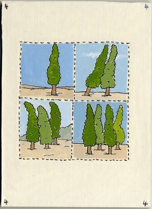 Pablo Echaurren, Carta dei tarocchi, arcano minore, Quattro di bastoni. Collezione Paola Masino