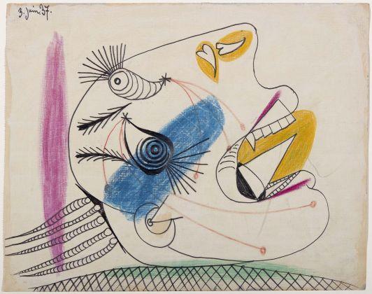 Pablo Picasso, Estudio para una cabezallorando (I). Dibujo preparatorio para Guernica, 1937. Museo Nacional Centro de Arte Reina Sofía, Madrid 2017. (c) Sucesión Pablo Picasso, VEGAP, 2017
