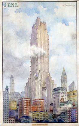 Piero Portaluppi, Studio per il Grattacielo S.K.N.E., New York, 1920, matita, inchiostro di china, inchiostro colorato e acquerelli su carta. Milano, Fondazione Piero Portaluppi