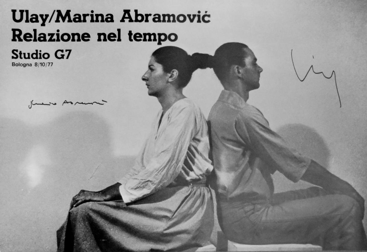 Relazione nel tempo, 1977, stampa offset, manifesto tratto dalla performance eseguita da Marina Abramović e Ulay il 7 ottobre 1977 alla Galleria Studio G7