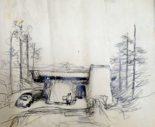 Sketch for unbuilt Greber Studio, Beverly Glen, California (detail, left), Frank Gehry, 1967. Frank Gehry Papers. The Getty Research Institute. © Frank O. Gehry