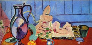 Henri Matisse, natura morta con caraffa di peltro e statuetta rosa, 1910