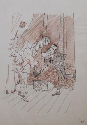 Totò in un disegno giovanile di Ettore Scola, Collezione eredi Scola