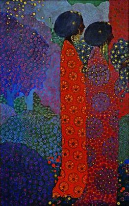 Vittorio Zecchin, Pannello del ciclo Le Mille e una notte, 1914, olio su tela. Venezia, Collezione Marino e Marina Barovier