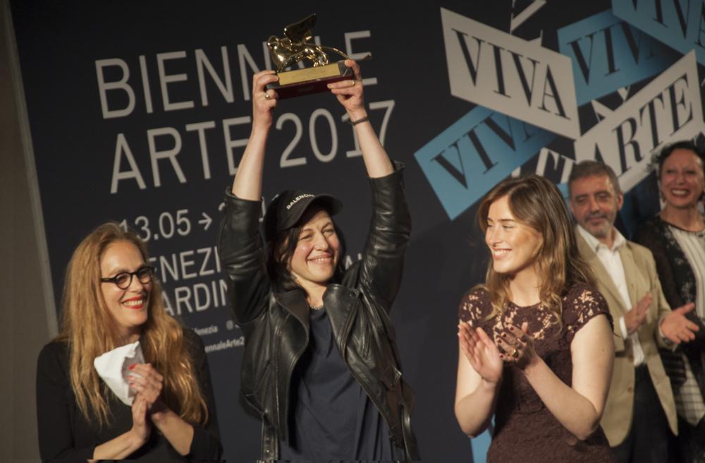57. Biennale di Venezia. Premiazioni. Leone d'Oro per la miglior partecipazione nazionale. Germania. Anne Imhof. Photo Irene Fanizza