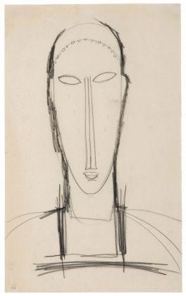 Amedeo Modigliani, Testa di fronte, 1912-14. Lugano, Collezione privata