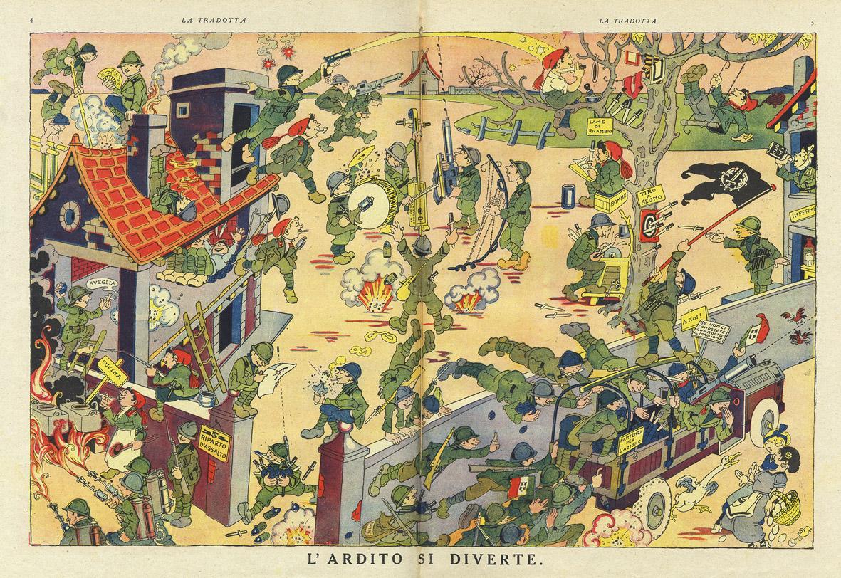 """Antonio Rubino, L'ardito si diverte, """"La Tradotta"""" n. 18, 15 ottobre 1918"""