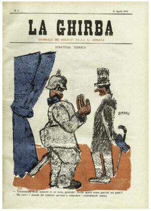 "Ardengo Soffici, Trecentomila morti in un mese Generale!..., copertina de ""La Ghirba"" n. 3, 21 aprile 1918"