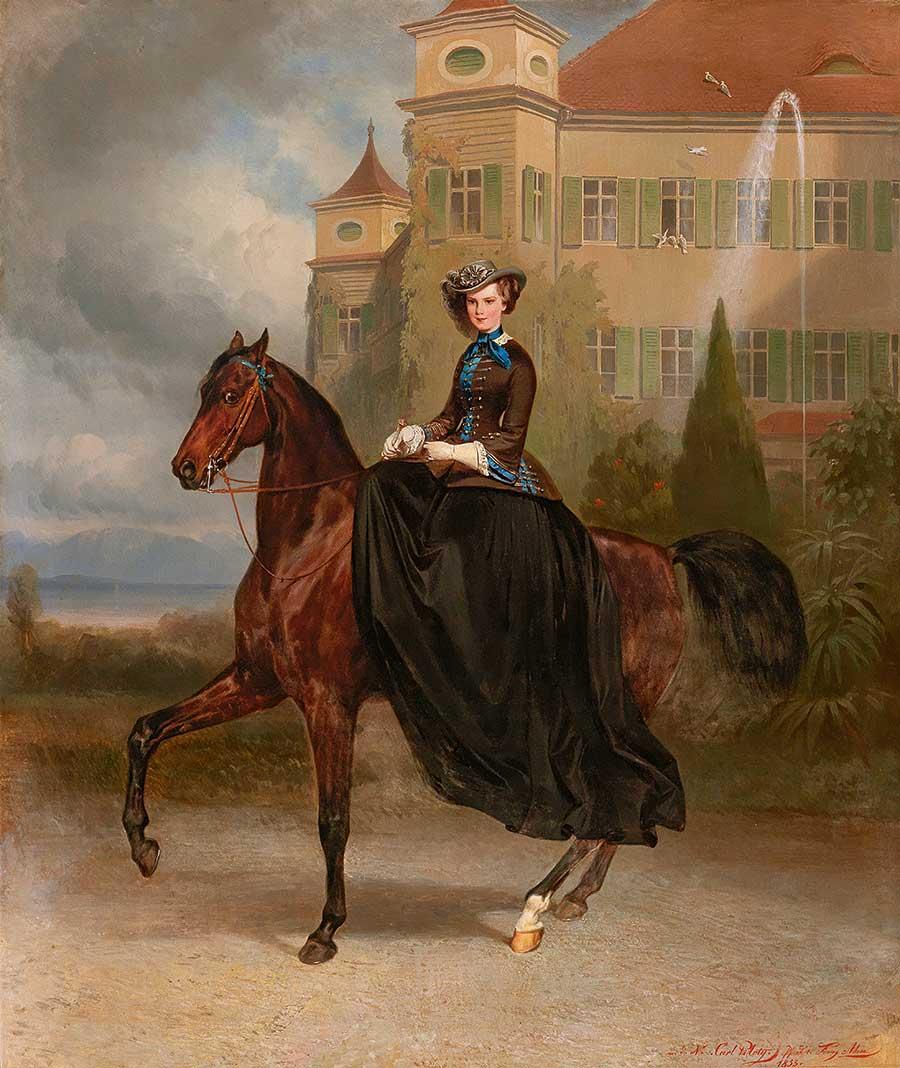 Carl Theodor von Piloty and Franz Adam, Elisabeth of Austria as a bride in Possenhofen, 1853 oil on canvas, 128 x 108 cm