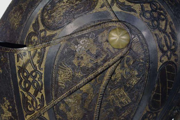 Elmetto da cavallo, dettaglio, Museo Poldi Pezzoli, Milano