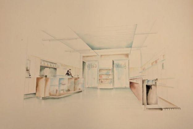 Enrico del Debbio, Studio per un bar pasticceria, s.l., s.d. Archivio Enrico del Debbio, Collezione MAXXI Architettura, courtesy Fondazione MAXXI, Roma