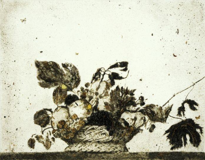 Enzo Fiore, Appropriazione. Canestra di frutta, 2015 tecnica mista su tela (resina, terra, foglie, radici, insetti...)