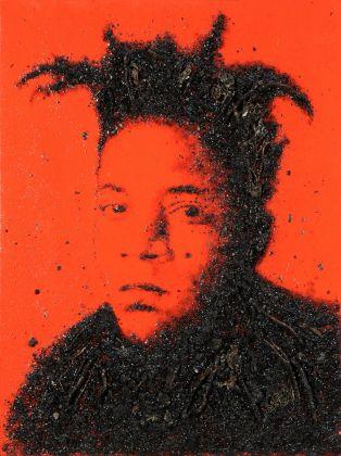Enzo Fiore, Archivio. Basquiat, 2012 tecnica mista su tela (resina, terra, foglie, radici...)