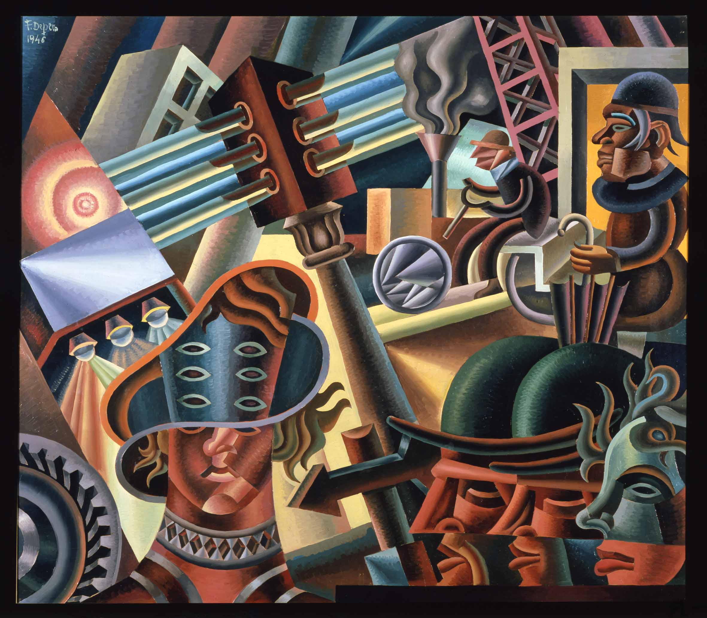 Fortunato Depero, Simultaneità metropolitane, 1946, Rovereto, Mart, Fondo Depero