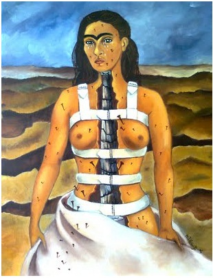 Frida Kahlo, La columna rota, 1944, oil on canvas ©Archivio Museo Dolores OlmedoFoto Erik Meza - Xavier Otada ©Banco de México Diego Rivera Frida Kahlo Museums Trust, México, D.F. by SIAE 2017